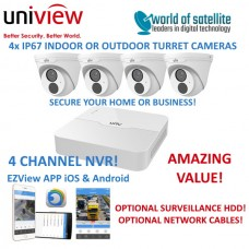 Uniview 4 Channel NVR301-04LB-P4 + 4x 2MP Turret IP Cameras CCTV Kit | PoE | IP67 | 30m IR | Ultra 265