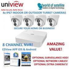 Uniview 8 Channel NVR301-08LB-P8 + 4x 2MP Turret IP Cameras CCTV Kit | PoE | IP67 | 30m IR | Ultra 265
